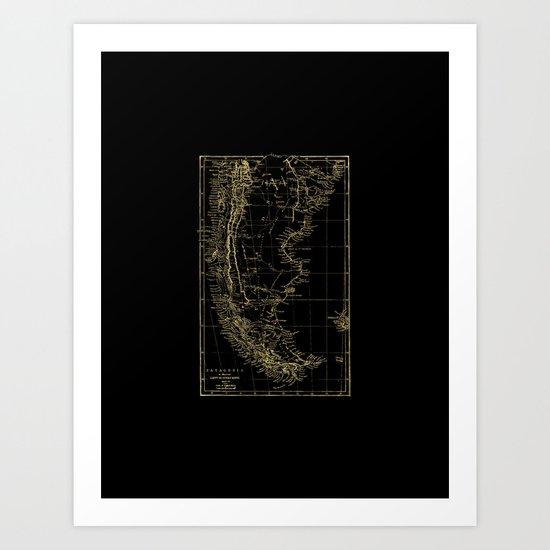 Patagonia - Black and Gold Art Print