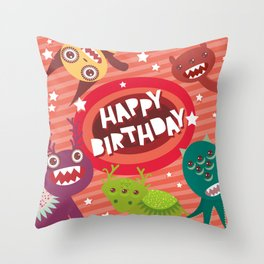 Happy birthday Funny monsters card Throw Pillow
