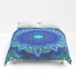Blues  Watercolor Flower Mandala Comforters