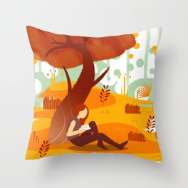 Summer Reading Girl Under Tree Throw Pillow