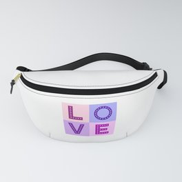 Love Hearts Love Type Pinks Purples Fanny Pack