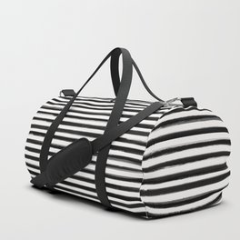 Skinny Stroke Horizontal Black on Off White Duffle Bag