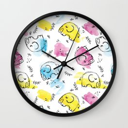 Sweet Elephants | Inkies Watercolor & Ink Pattern Collection by Kate Amedeo Wall Clock
