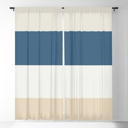 Blue, Linen White, Beige and Off White 4 Bold Stripes - 2020 Color of the Year Chinese Porcelain Blackout Curtain