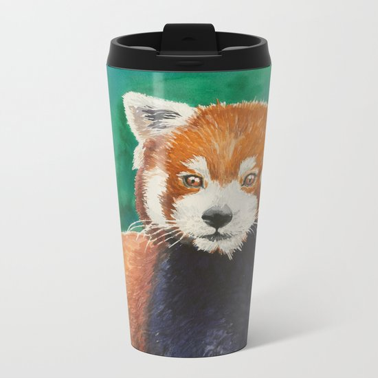 Red panda watercolor portrait Metal Travel Mug