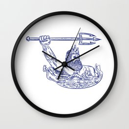 Triton Wielding Trident Drawing Blue Wall Clock