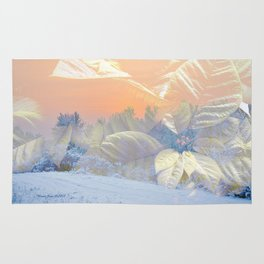 White Poinsettias And Winter Sunset By Annie Zeno Rug