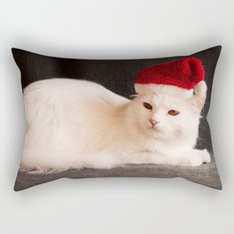 Turkish Angora white Angora cat Santa Claus hat Christmas white fluffy cat cute animals pets cats Rectangular Pillow