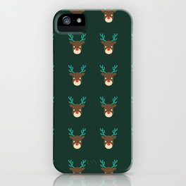 Cute deer pattern Christmas decorations retro colors dark green background iPhone Case