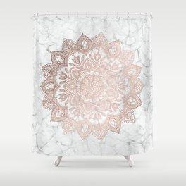 Boho Mandala - Rosegold on Marble Shower Curtain