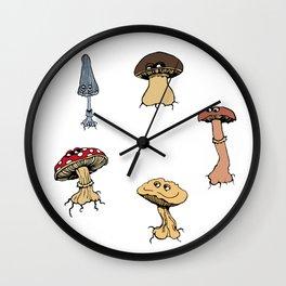 Gentle Mushrooms Wall Clock
