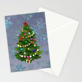 Christmas tree & snow v.2 Stationery Cards