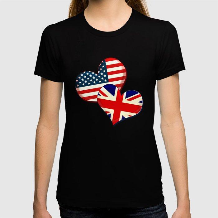 USA and UK hearts T-shirt