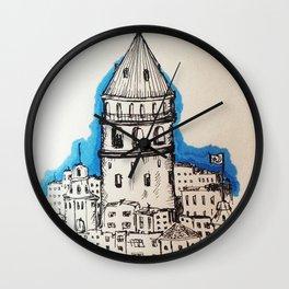 Galata in Blue Wall Clock