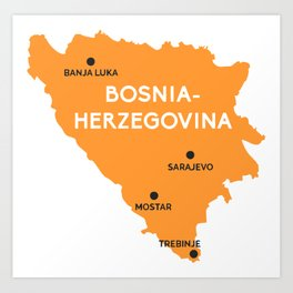 Bosna-Herzegovina Map Art Print