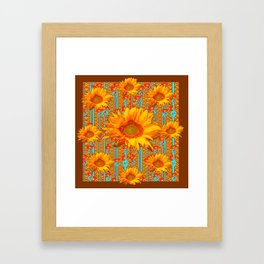 Coffee Brown Sunflower Pattern Orange & Turquoise Framed Art Print