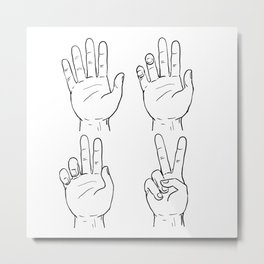 Victory or Peace Hand Sign Drawing Metal Print
