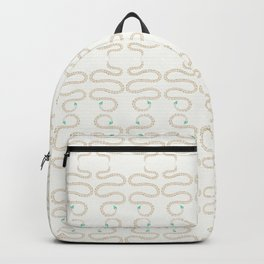 Cute snake in pink green and gold paint Backpack