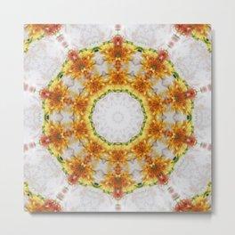 Gold Chrysanthemum Kaleidoscope Art 4 Metal Print
