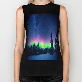 Aurora Borealis Over Wintry Mountains Biker Tank