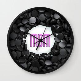 Hockey Mom / 3D render of hundreds of hockey pucks framing Mom text Wall Clock