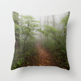 Adventure Ahead - Foggy Forest Digital Nature Photography Throw Pillow