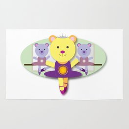 Ballerina Bear Cartoon Rug