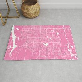 Fort Collins map pink Rug
