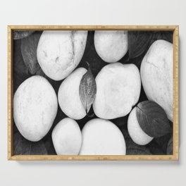 Zen White Stones On A Black Background #decor #society6 #buyart Serving Tray