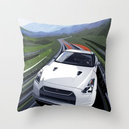 Skyline GT-R Race Car Illustration Art Print Throw Pillow