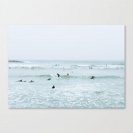 Tiny Surfers Lima, Peru 2 Canvas Print