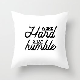 OFFICE WALL ART, Work Hard Stay Humble,Play Hard,Motivational Poster,Be Kind,Home Office Desk,Printa Throw Pillow