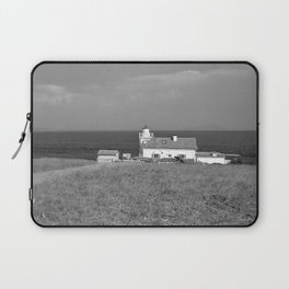 beach front lighthouse medulin croatia istria europe black white Laptop Sleeve