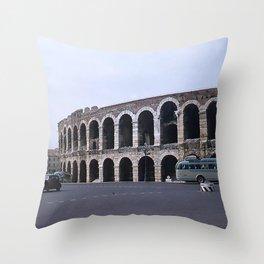 Vintage Color Photo * Verona Arena * Italy * 1950's * Antique Cars * Bus *Italian Throw Pillow