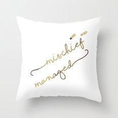 Mischief Managed (white) Throw Pillow