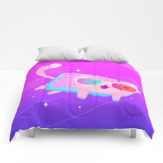 Rainbow cat Comforters