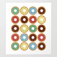 donuts Art Prints featuring Donuts!! by Ron Trickett