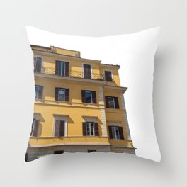 Roman Yellow Building with Throw Pillow