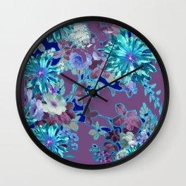 Aqua & Puce Color Tropical Flower Garden Pattern Wall Clock