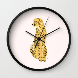 Cheetah Sitting Looking Left Wall Clock