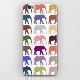 Colorful Elephants - Pink Purple Green Blue iPhone Skin