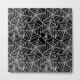 Gothic Halloween - white spider webs on black background Metal Print