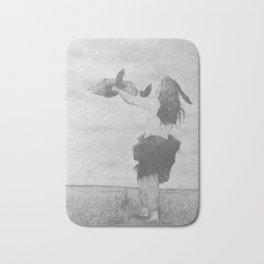 Offering the Buffalo Skull Mandan - Charcoal Drawing Bath Mat