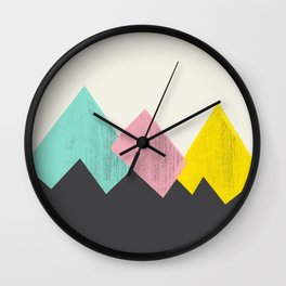 Pastel Mountains III Wall Clock