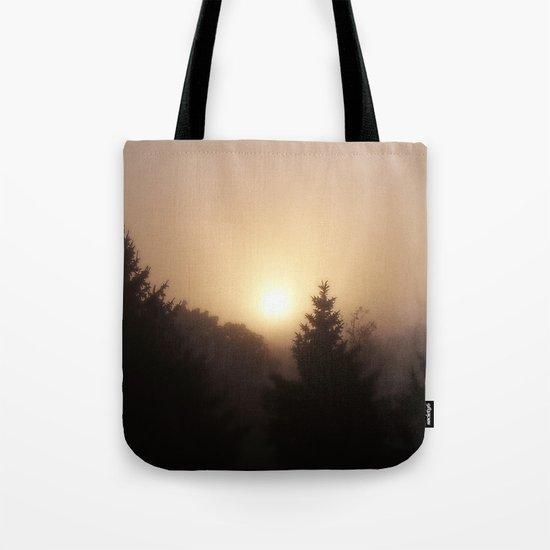 Sunrise Through Morning Fog Tote Bag