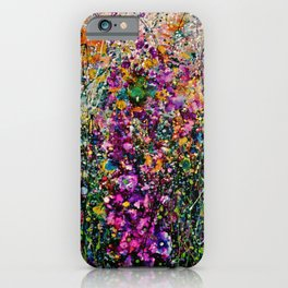 Hollyhock Fantasy Pollock Style Painting  iPhone Case