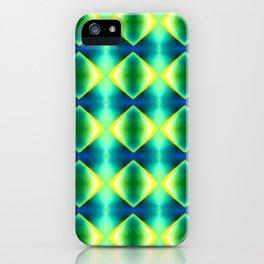 Green Yellow Geometric Metallic Diamond Pattern iPhone Case