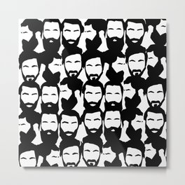 Beard black n white Metal Print
