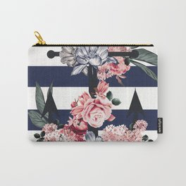 Nautical Vintage Anchor, Flowers and Stripes Carry-All Pouch