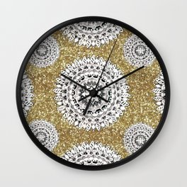 Gold litter and Silver Mandala Patterned Textile Wall Clock